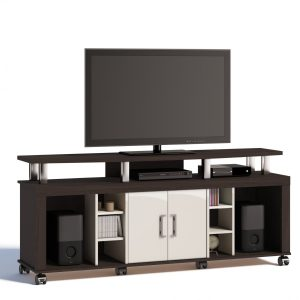 Rack Dulce Plus 160cm 02 Portas Castanho/Off White Tv 70''
