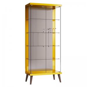 Cristaleira Espelhada Retrô Isabela 02 Portas Amarelo LED