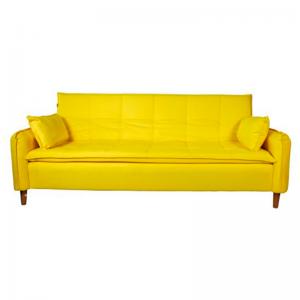 Sofá-Cama Arthur 220cm D33 Camurça Amarelo c/ 02 Almofadas