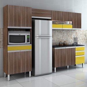 Cozinha Completa Sabrina 280cm Moccacino/Amarelo