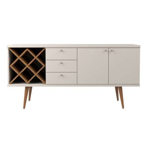Buffet Adega Retrô Bled 160cm Off White/Natural/Cobre