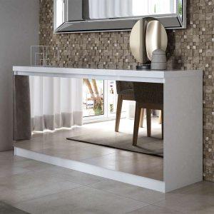 Buffet Espelhado Belgrado 160cm Branco 04 Portas