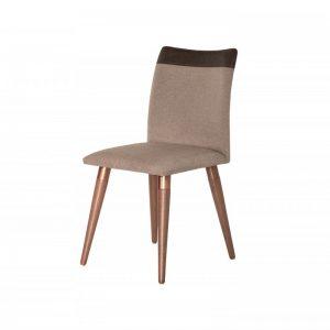 Cadeira Valentina Linho/Courino Bege Café