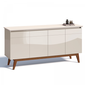 Buffet Retrô Laca 04 Portas 165cm Off White Lorena