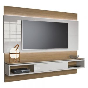 Painel Suspenso Dionísio 220cm Tv 60'' Off White/Natural