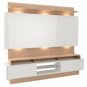 Painel Caleb 220cm Tv 58'' LED Off White/Natural