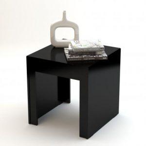 Mesa de Canto Amy 54x54cm Preto Brilho
