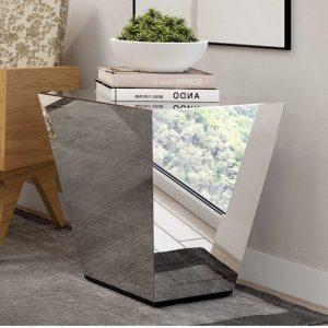 Mesa de Canto Dara Espelhada Pirâmide 50x50cm