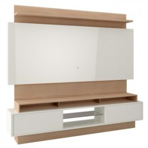 Painel Suspenso Caco 220cm Tv 58'' Off White/Natural