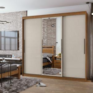 Roupeiro Casal Rovere Natural Off White - Com Espelho 243cm